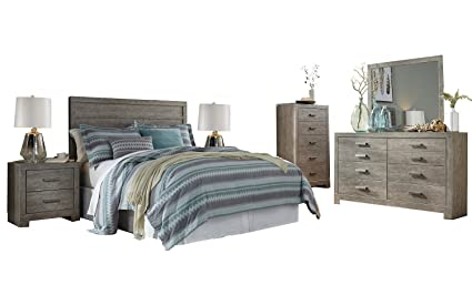 ashley culverbach 6pc queen headboard bedroom set in gray - Ashley Bedroom Sets