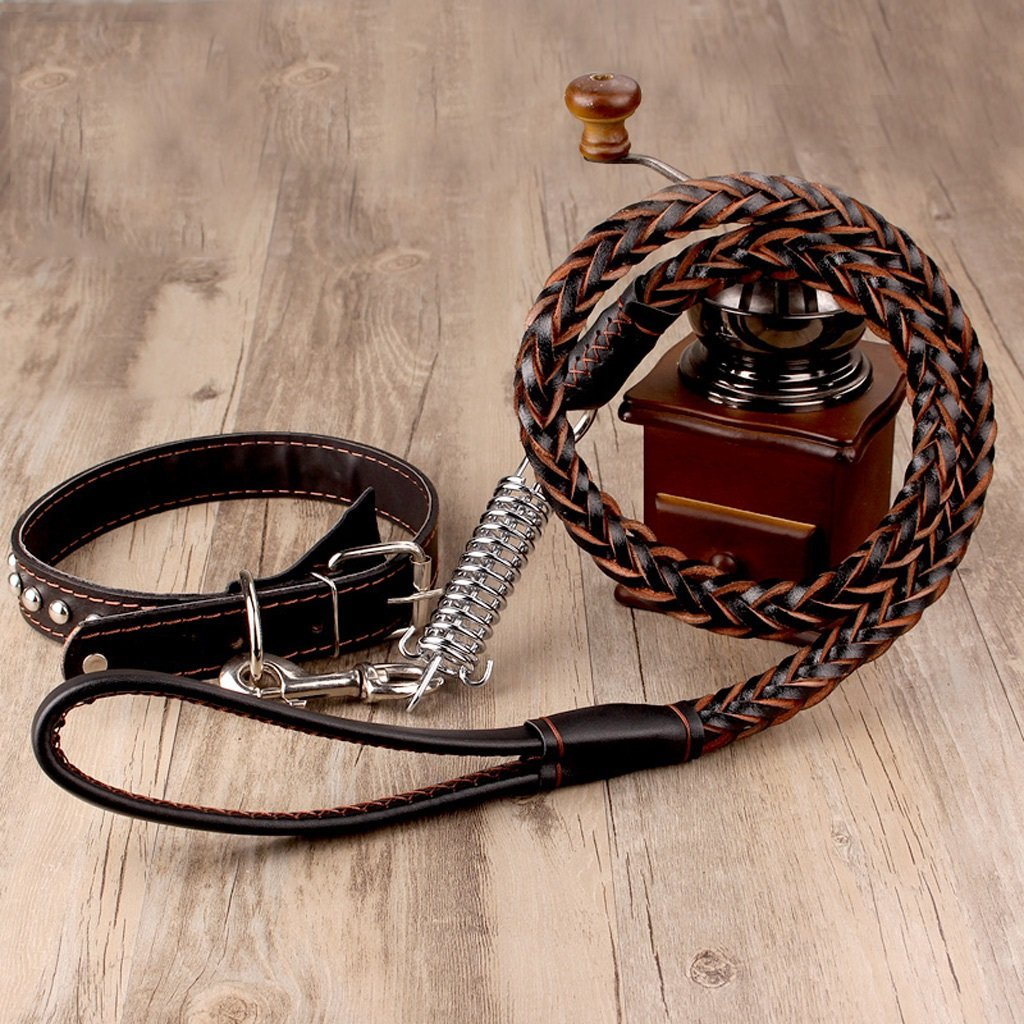 BROWN ZH Pet Traction Rope, Buffer Traction Rope, Cowhide, Belt, golden Retriever, Labrador, Large, Collar, Hyena Rope, Dog Chain (color   Brown)