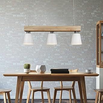 GBLY Lámpara colgante LED mesa de comedor madera 3 llamas blanco ...