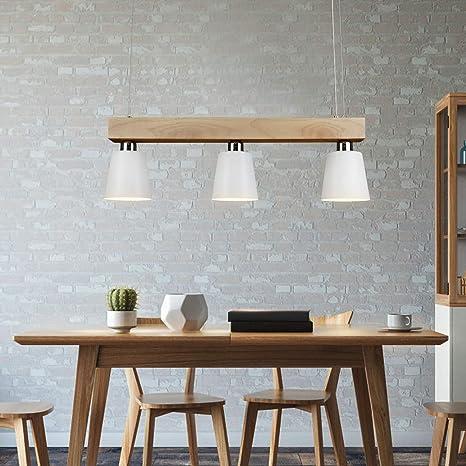 Lampada a sospensione a LED tavolo da pranzo in legno 3 fiamme lampada da  tavolo da pranzo regolabile in altezza bianco caldo per sala da pranzo ...