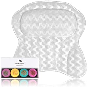 BILLIE BEAN Luxury Bath Pillow for Bathtub - 4 Bath Fizzies Included - We Provide Bath Pillows for Tub Neck and Back Support - A Relaxing Bathtub Pillow - Billie Bean Bath Accessories - Our Spa Pillow