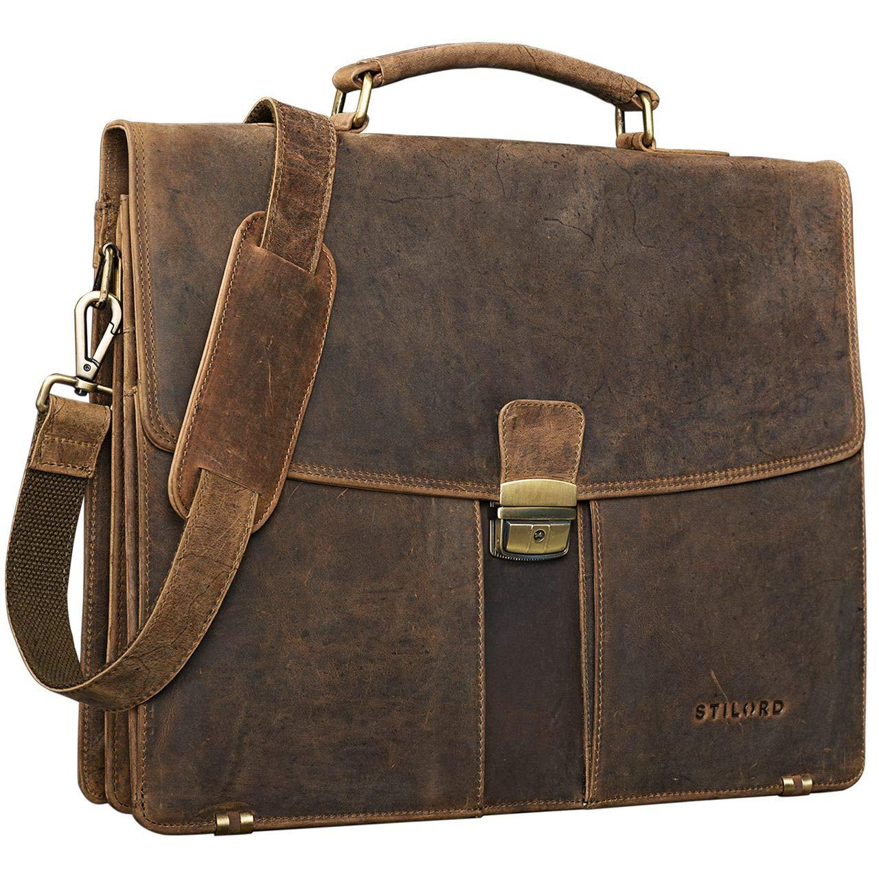 STILORD 'Julian' Aktentasche Leder Elegant Klassische Businesstasche mit Schloss groß aufsteckbar Bürotasche echtes Leder vom Rind, Farbe:mittel - braun 541 Aktentasche Leder