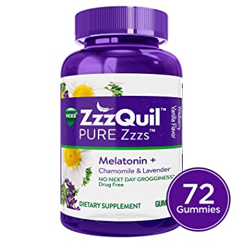 Vicks ZzzQuil Pure Zzzs Melatonin Sleep Aid Gummies with Chamomile, Lavender and Valerian Root, Natural...
