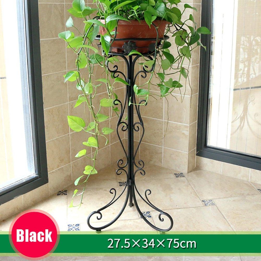 LXLA- 現代の鉄のフラワーポットスタンドシンプルなアセンブリポット付きプラントラックコンチネンタル室内プランターディスプレイシェルフフロアスタンディングシングル (色 : ブラック, サイズ さいず : 27.5×34×75cm) B07D7C59WF 27.5×34×75cm|ブラック ブラック 27.5×34×75cm