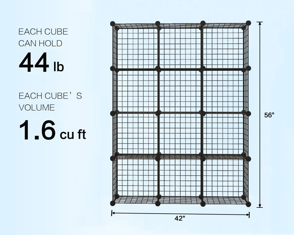 KOUSI Wire Storage Cubes Modular Shelving Unit Metal Bookcase ...