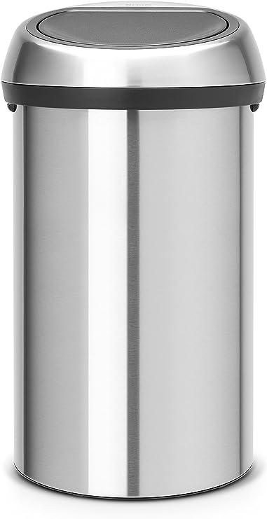 Brabantia Touch Bin, Mülleimer, Abfalleimer, Papierkorb, Deckel, Matt Steel 60 L