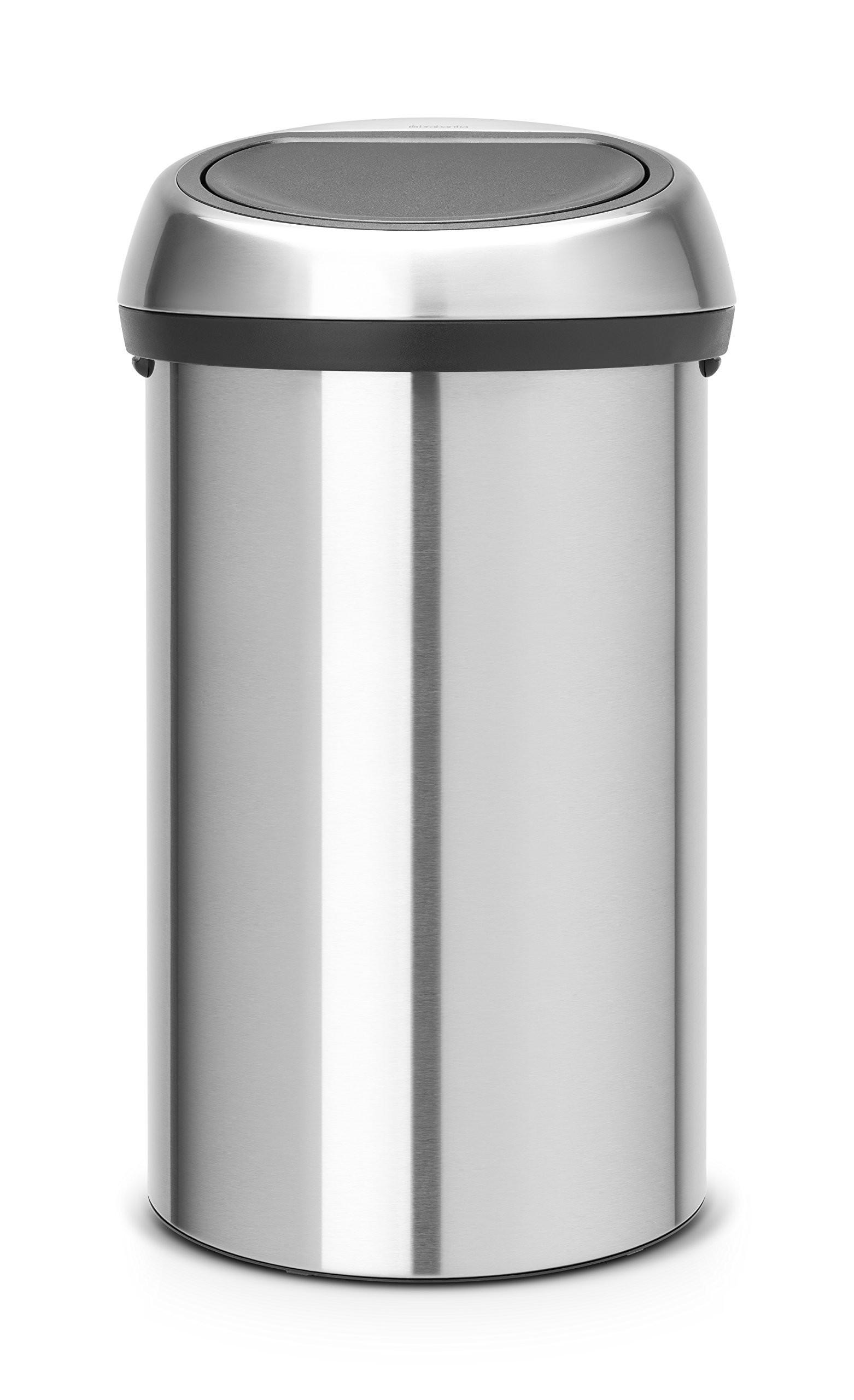 Brabantia Touch Trash Can 16 gallon/60 liter - Matte Steel Fingerprint-Proof, 484506