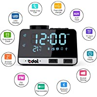 Edal Alarm Clock Radio with Bluetooth Speaker,Double USB Charger,Dual Alarm,Snooze,AUX TF Card and Thermometer Mini Portable Digital Dimmer Clock Radio for Bedrooms Home and Kitchen