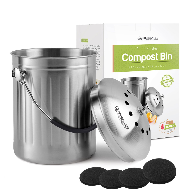 Housewares Solutions Acero inoxidable Compost Bin 1,3/L capacidad/ /incluye 4/filtros adicional de regalo
