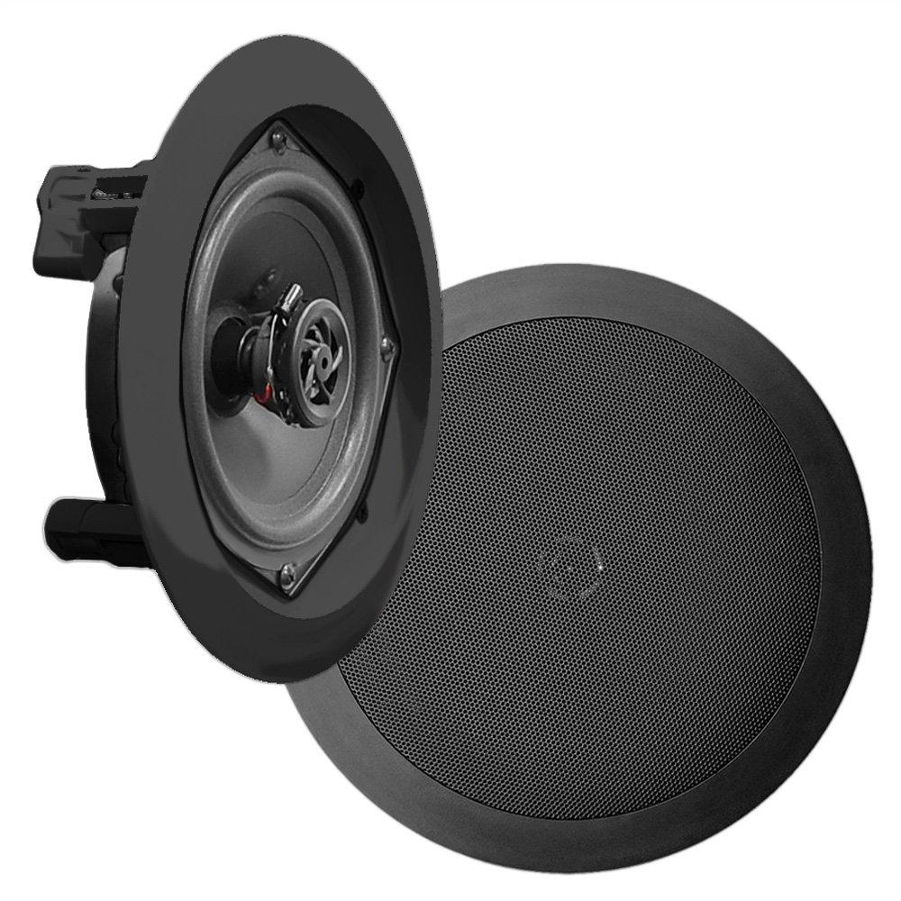 Pyle PDIC81RDBK, 8'' Ceiling Wall Mount Speakers - Pair of 2-Way Midbass Woofer Speaker 1/2'' Polymer Dome Tweeter Flush Design w/ 50Hz - 20kHz Frequency Response & 250 Watts Peak Easy Installation