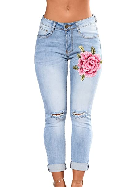 a0f9daba30494 sidefeel Women Rose EmbroideLight High Waist Ripped Denim Skinny Jeans  Large Light Blue