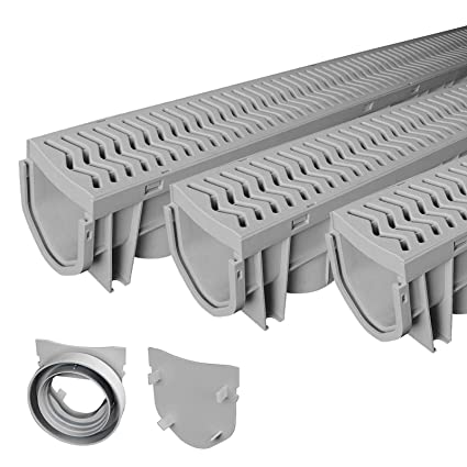 Superieur Source 1 Drainage 3 Pack Trench U0026 Driveway Channel Drain System With Grates