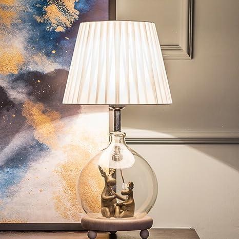 HM&DX Moderno Lámpara de mesita de noche Con cristal Sombra ...