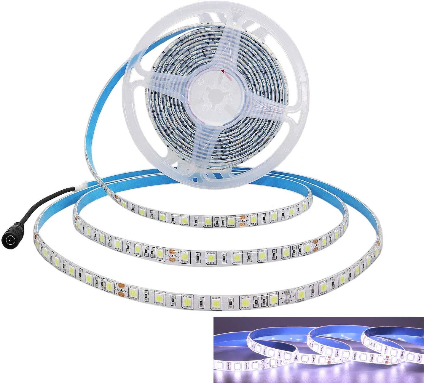 JOYLIT Tiras LED 24V Blanco frío 6000-6500K 300 LEDs SMD5050 IP65 Impermeable 5 metros
