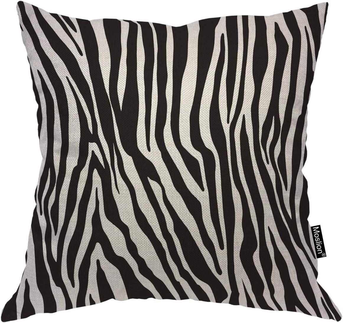 Amazon Com Moslion Zebra Print Decorative Pillow Covers 16x16 Inch Black White Leopard Line Stripes Wild Animal Skin Throw Pillow Case Cotton Linen Canvas Square Cushion Accent Pillow For Sofa Bed Home