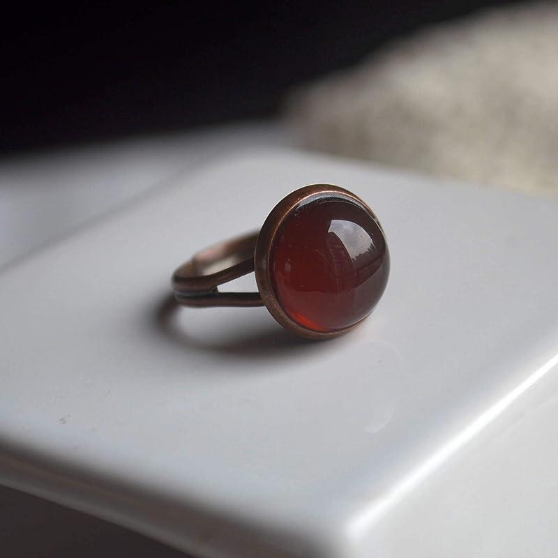 Agate Rouge Pierre Naturelle Pierre de Naissance Rouge Bronze Couleur Redimensionnable Cuivre Bagues fantaisie