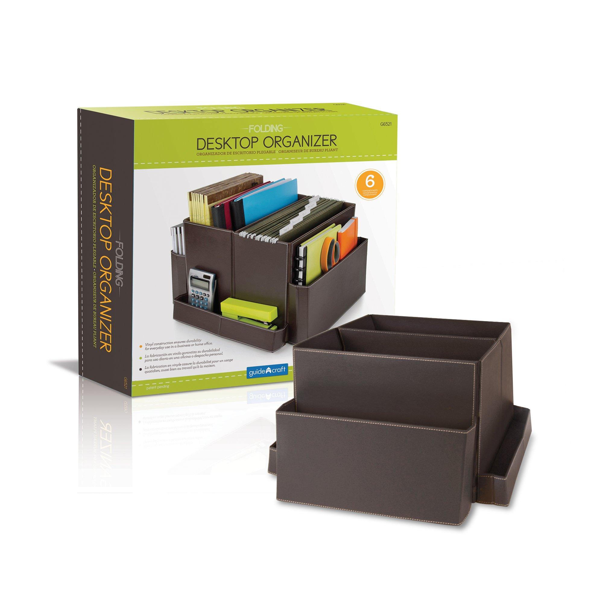 Guidecraft Folding Desk Organizer Office School Supply Brown - 6 Storage Compartments