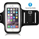 VicTsing Brazalete Deportivo Resistente de Agua con Key Holder para el iPhone 8, el iPhone7, el iPhone6, 6S (4,7 Pulgadas), Galaxy S3/S4, el iPhone 5/5C/5S, Bulto con Protector de Pantalla - Negro