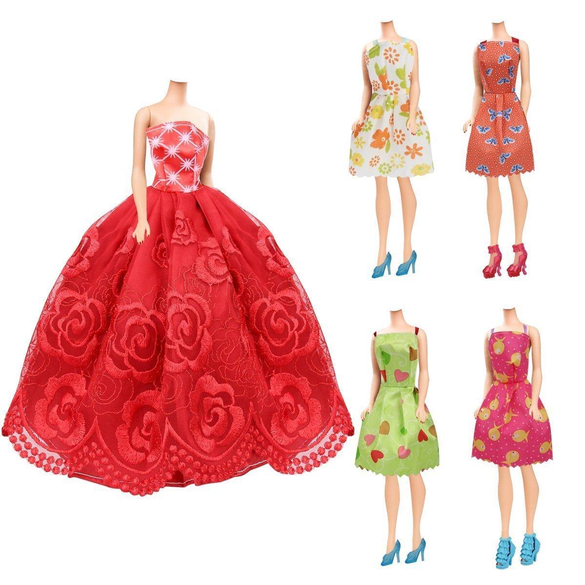 16pcs Verano Faldas Vestidos 116 pcs Accesorios Mu/ñecas Barbie,Accesorios de Vestir para Las Mu/ñecas 98 Accesorio de Barbie+ 2pcs Pegatina Multicolor