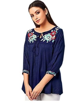 6b78962248b83e Jayayamala Ladies Blue Cotton Tunic Multi Color Flower Embroidered Top  Dress (XS)