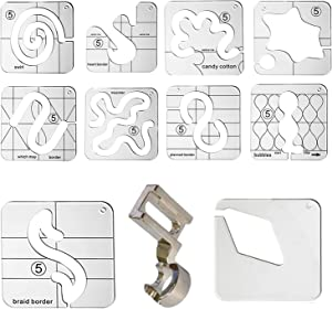 YICBOR 10pcs 3mm Free Motion Quilting Template Series 5 with 1pcs 1/4