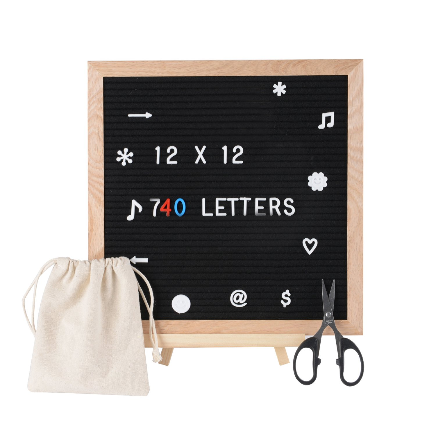 SPACECARE Letter Board 12 x 12 Inches with 720PCS White Blue Golden Letters, Changeable Felt Letter Board for Office, Restaurant, DIY Frame Sign