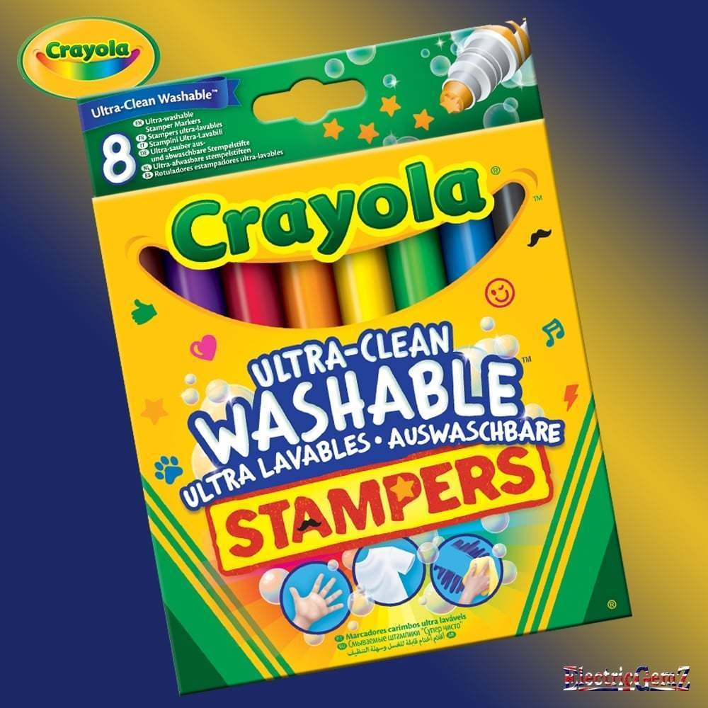 Crayola 8 Ultra Clean Washable Mini Stampers Markers Felt Tip Pens