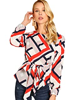 fa19eaf53b9c97 Milumia Women's Round Neck Belted Waist Long Sleeves Geo Print Belted Top  Multicolor-3 Small