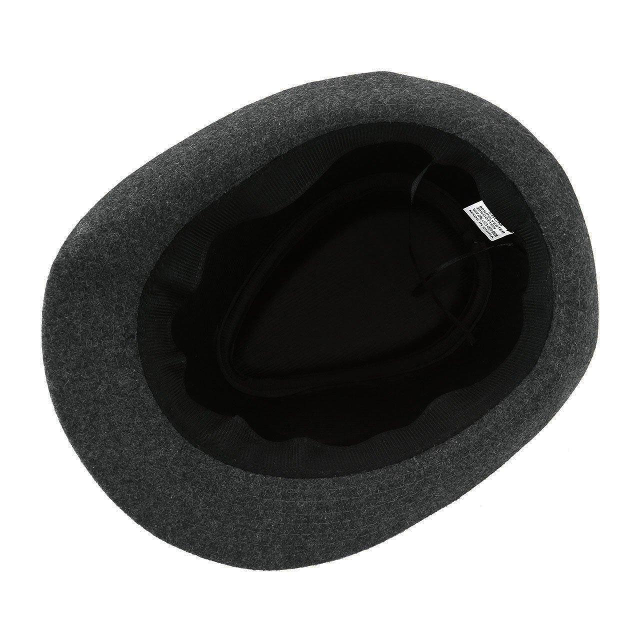 Unisex Classic Manhattan Fedora Hat Black Band Fashion Casual Jazz Wool Cap (Grey) by Faleto (Image #4)