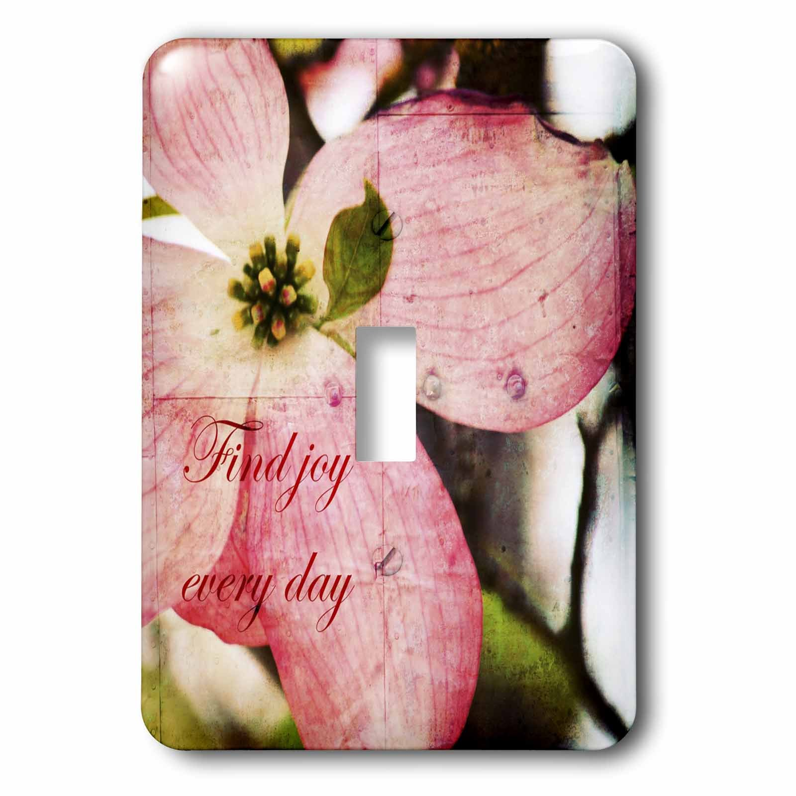 3dRose lsp_57208_1 Find Joy Every Day Pink Dogwood Flower Inspirational Floral Print Single Toggle Switch