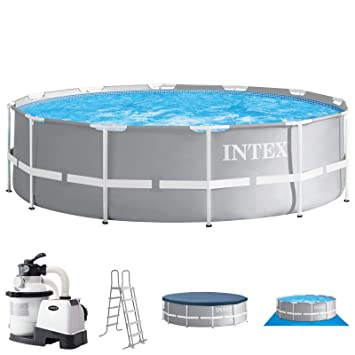 Juego completo para piscinas con filtro de arena y escalera de Intex, 366 x 122Cubierta