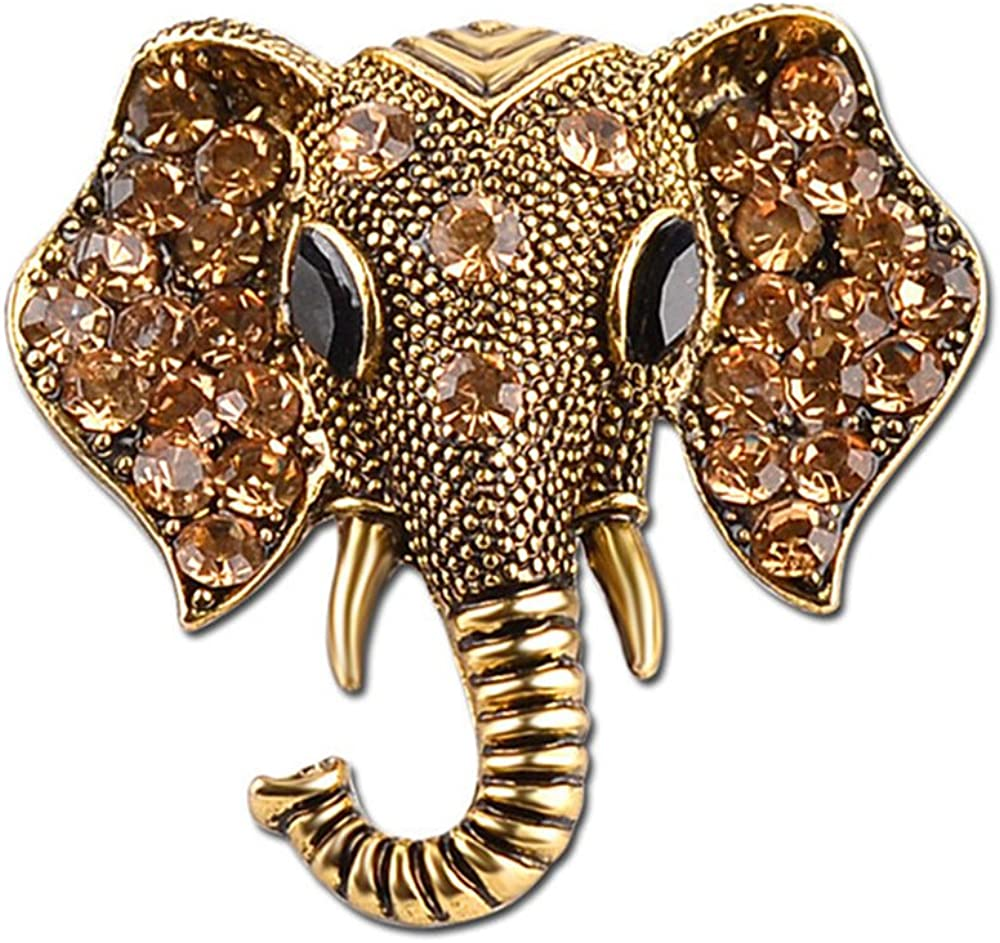 Stan-Deed Gold Tone Clear Crystal Colored Rhinestones Matte Elephant Crown Vintage Brooch Pin