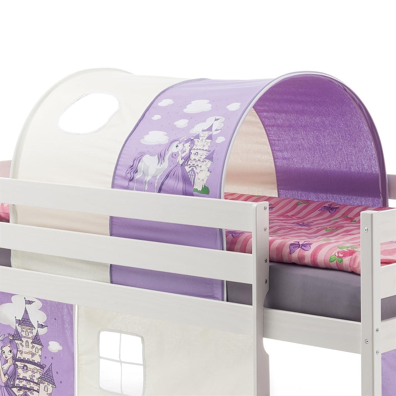 IDIMEX Tunnel PRINZESSIN zu Hochbett Spielbett Rutschbett Kinderbett in lila weiß