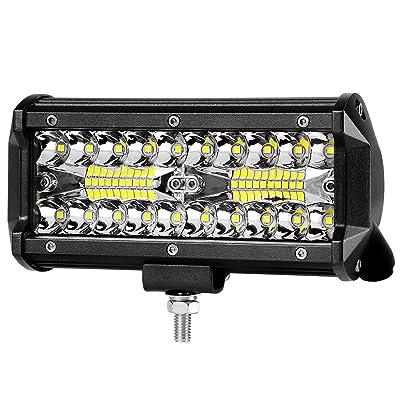 "7"" LED Light Pod 120W Triple Row LED Light Bar Spot Flood Combo Beam Fog Lights Waterproof LED Cubes Offroad Driving Lights Compatible with Truck Jeep UTV ATV Motorcycle Marine: Automotive"