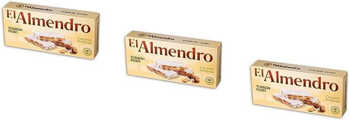 El Almendro - Pack 3 Turrón duro crujiente de Almendra - Calidad Suprema - 200gr (Sin Gluten): Amazon.es: Alimentación y bebidas