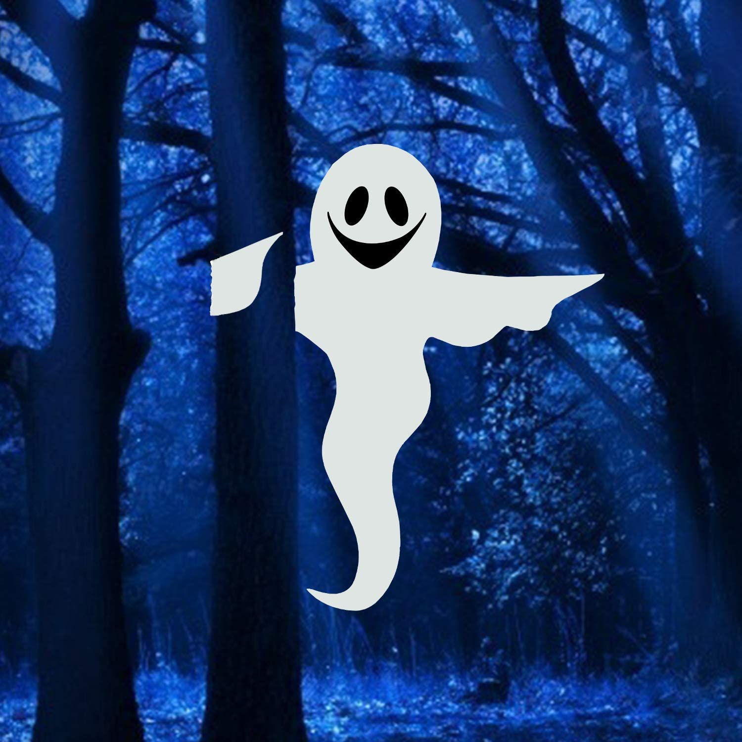 VEYLIN 53in Halloween Bendable Tree Wrap Ghost, White Smiling Friendly Ghost for Outdoor Yard Decoration