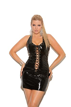 Hot Spot Sexy Womens Plus Size Vinyl Clubwear Mini Dress With Front And Back Laces