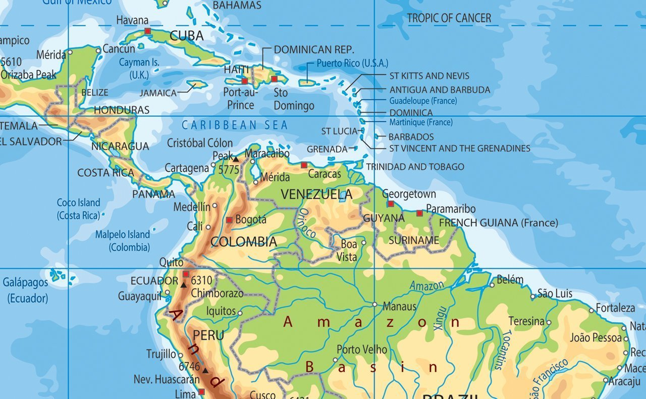A0 Giant Size! I Love Maps - Paper Laminated World Physical Map GA