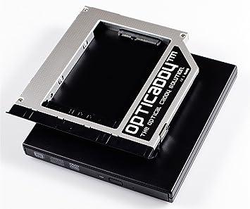 Opticaddy© SATA-3 HDD/SSD Caddy Adaptador SET con carcasa externa USB para una unidad óptica para DELL Latitude E6220, E6320, E6420, E6520, E6230, ...