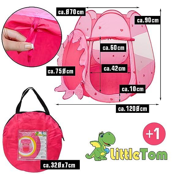 LittleTom Tienda de campaña Juguete para niña 120x120x90cm Piscina de Bolas Rosa