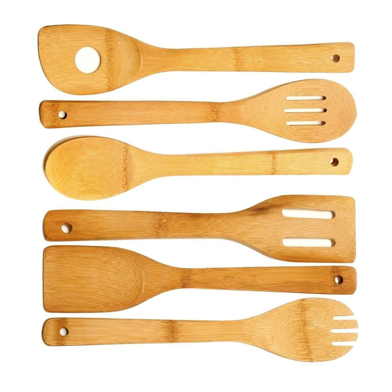 SmarketBuy 6 Piece Wooden Cooking Utensil Set Bamboo Kitchen Spatula Spoons