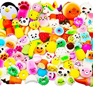 Huastyle 60 Pcs Squishies Random Jumbo Medium Mini Toys Stocking Stuffers for Kids, Birthday Gifts Party Favors Goodie Bags Egg Filler ,Slow Rising Cream Scent Phone Straps