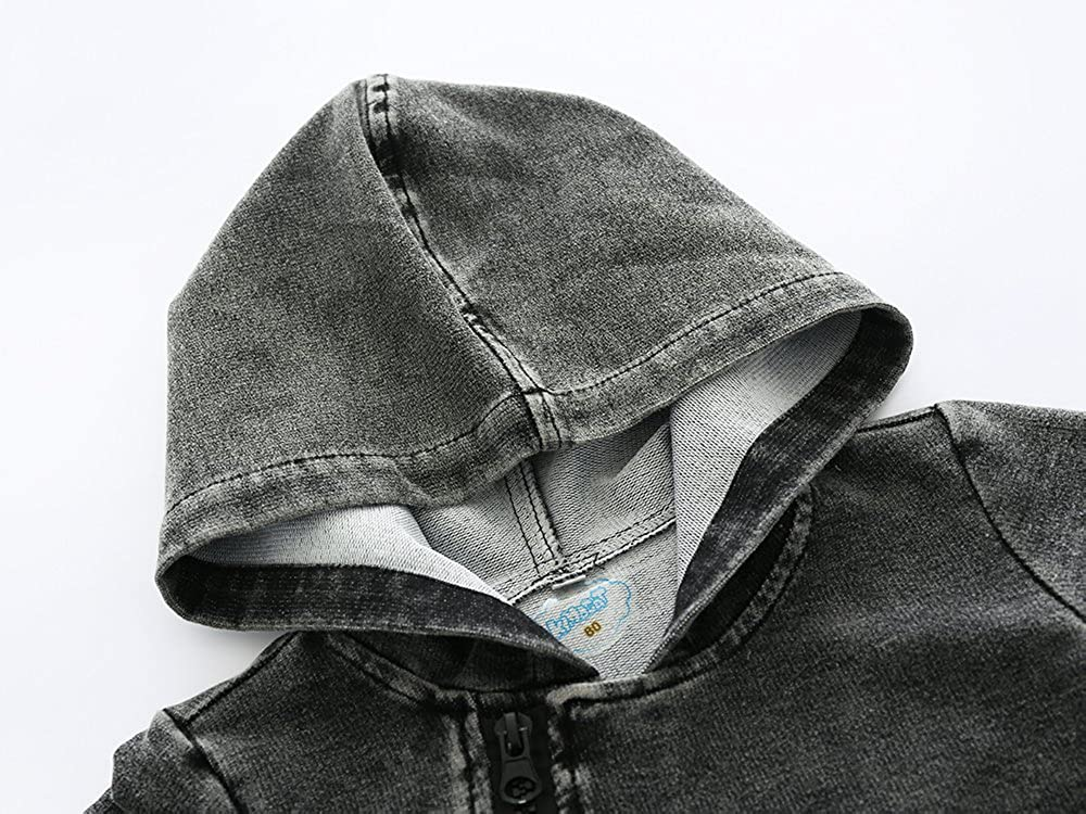 Kimocat Newborn Baby Hooded Romper Jumpsuit Long Sleeve Denim Jeans Bodysuit With Oblique Zipper Pockets Outfits