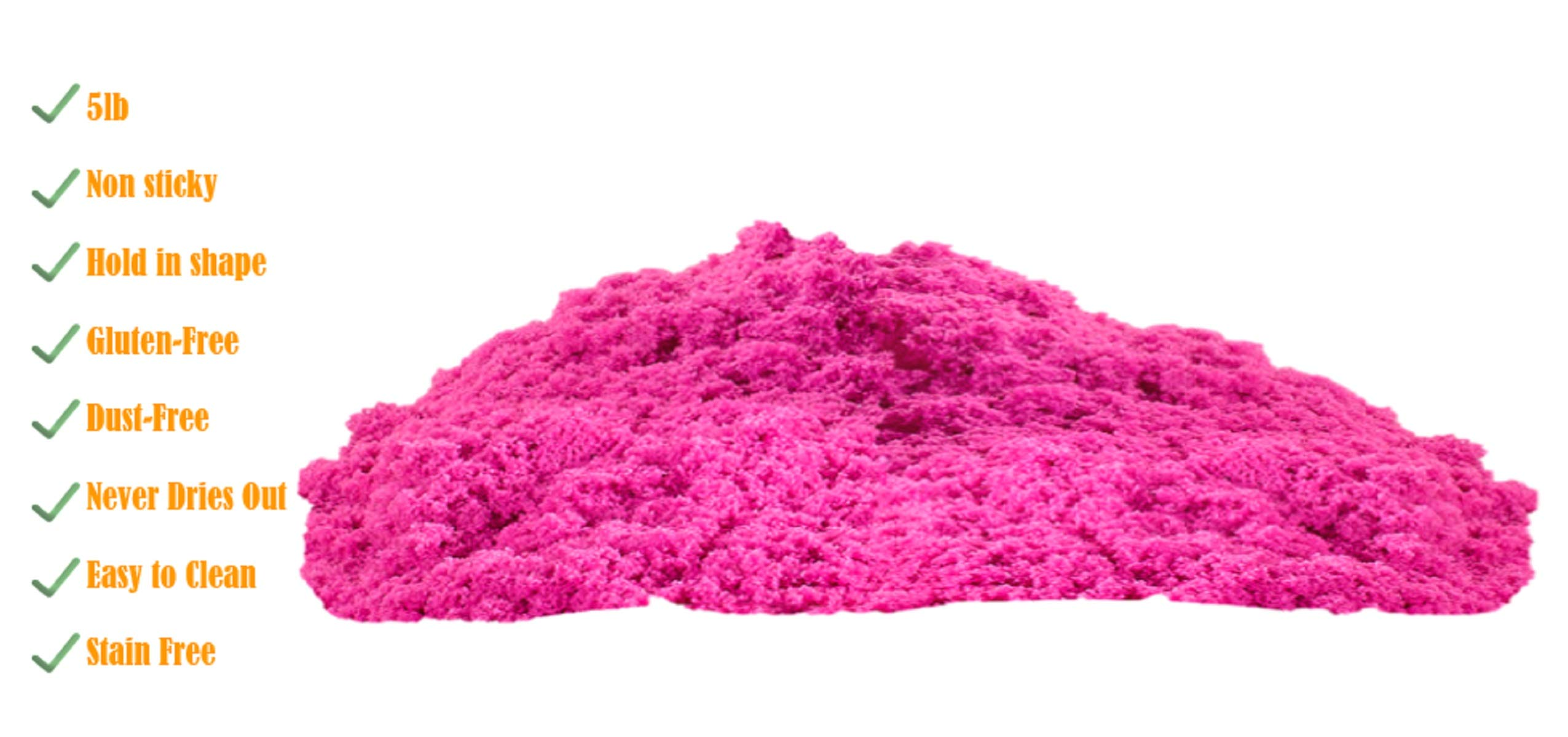 walla Play Sand (5 lbs.) | Pink Play Sand for Kids | Great Kinetic Sensory Toy for Creating Fun, Moldable Sand Art & Work On Fine Motor Skills | Bring The Beach to Your Home with Mess-Free Magic Sand by walla (Image #5)