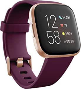 Fitbit Versa 2 Fitness Wristband with Heart Rate Tracker - Bordeaux/Copper Rose Aluminum