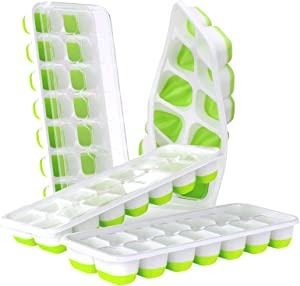 DOQAUS Ice Cube Trays 4 Pack, Easy-Release Silicone & Flexible 14-Ice Cube Trays with Spill-Resistant Removable Lid, LFGB Certified and BPA Free, for Cocktail, Freezer, Stackable Ice Trays with Covers