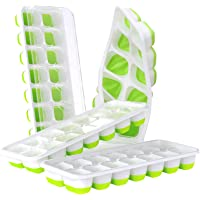 DOQAUS Ice Cube Trays 4 Pack, Easy-Release Silicone & Flexible 14-Ice Cube Trays with Spill-Resistant Removable Lid…