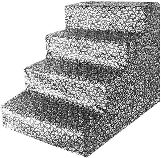 Escalera 4 Pasos Gatos y Perros Fácil de Subir Escaleras para Mascotas Escaleras de sofá Escalera de sofá Escalera de Cama Cojín Perro pequeño Escalada Gato para Perros Escalera (Color : Gray):
