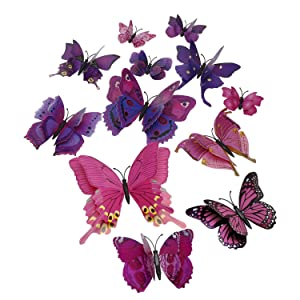 Tupalizy 12PCS Vibrant Double Wings 3D Butterfly Wall Stickers Decals DIY Art Crafts Decorations for Windows Refrigerator Kids Girls Baby Bedroom Classroom Bathroom Home Office Birthday Party (Purple)