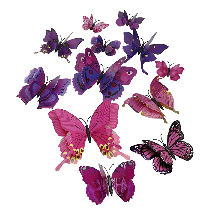 Tupalizy 12PCS Vibrant Double Wings 3D Butterfly Wall Stickers DecalsDIY Art Crafts Decorations for Windows Refrigerator Kids Girls Baby Bedroom Classroom Bathroom Home Office Birthday Party (Purple)